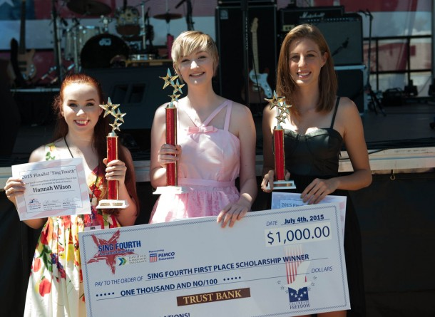 Sing Fourth 2015 winners, pictured from left to right: Hannah Wilson (2nd place), Tirza Meuljic (1st place), and Mia Josberger (3rd place).