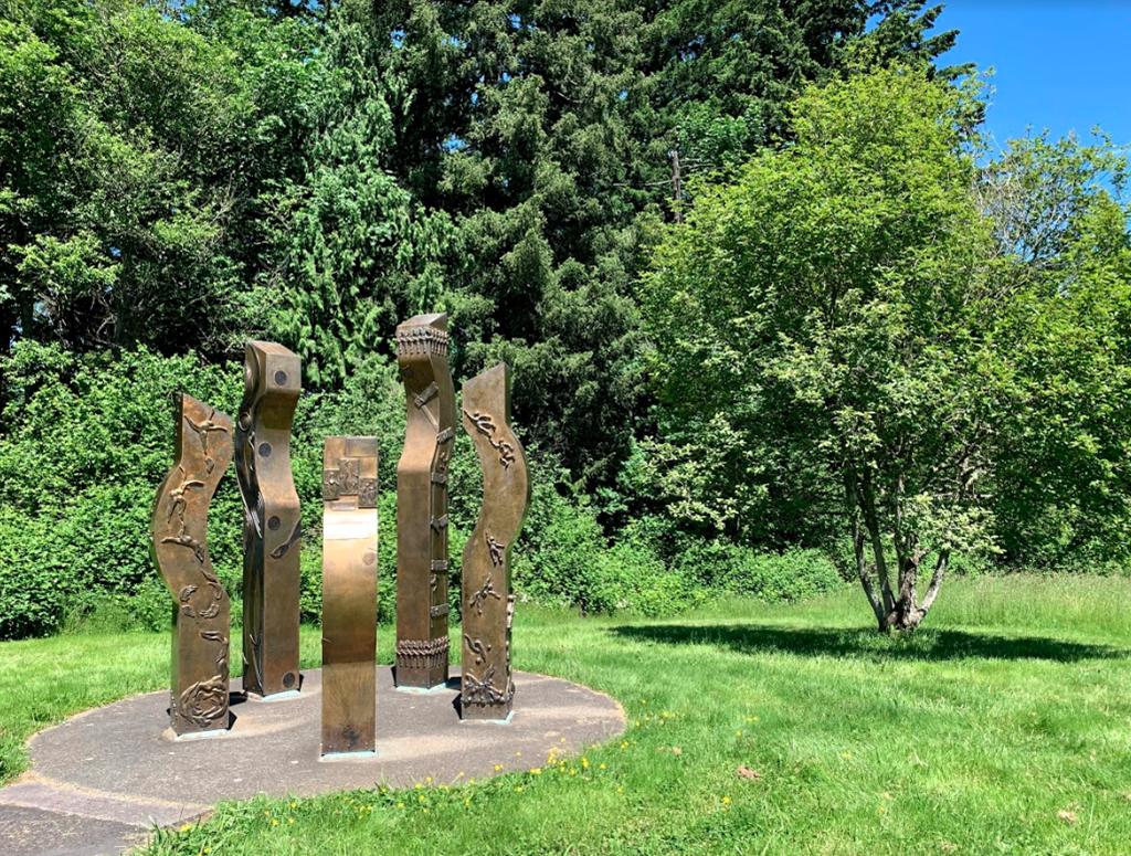 Public art installation along WSU Vancouver's Cougar Trails